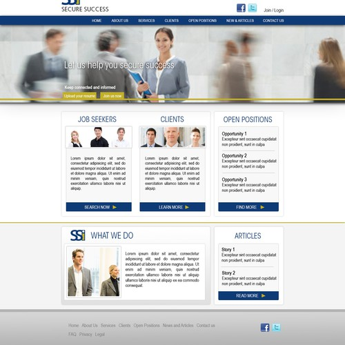 Secure Success Inc. needs a new landing page