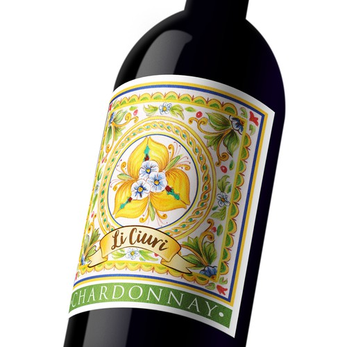 Colorful Sicilian wine label