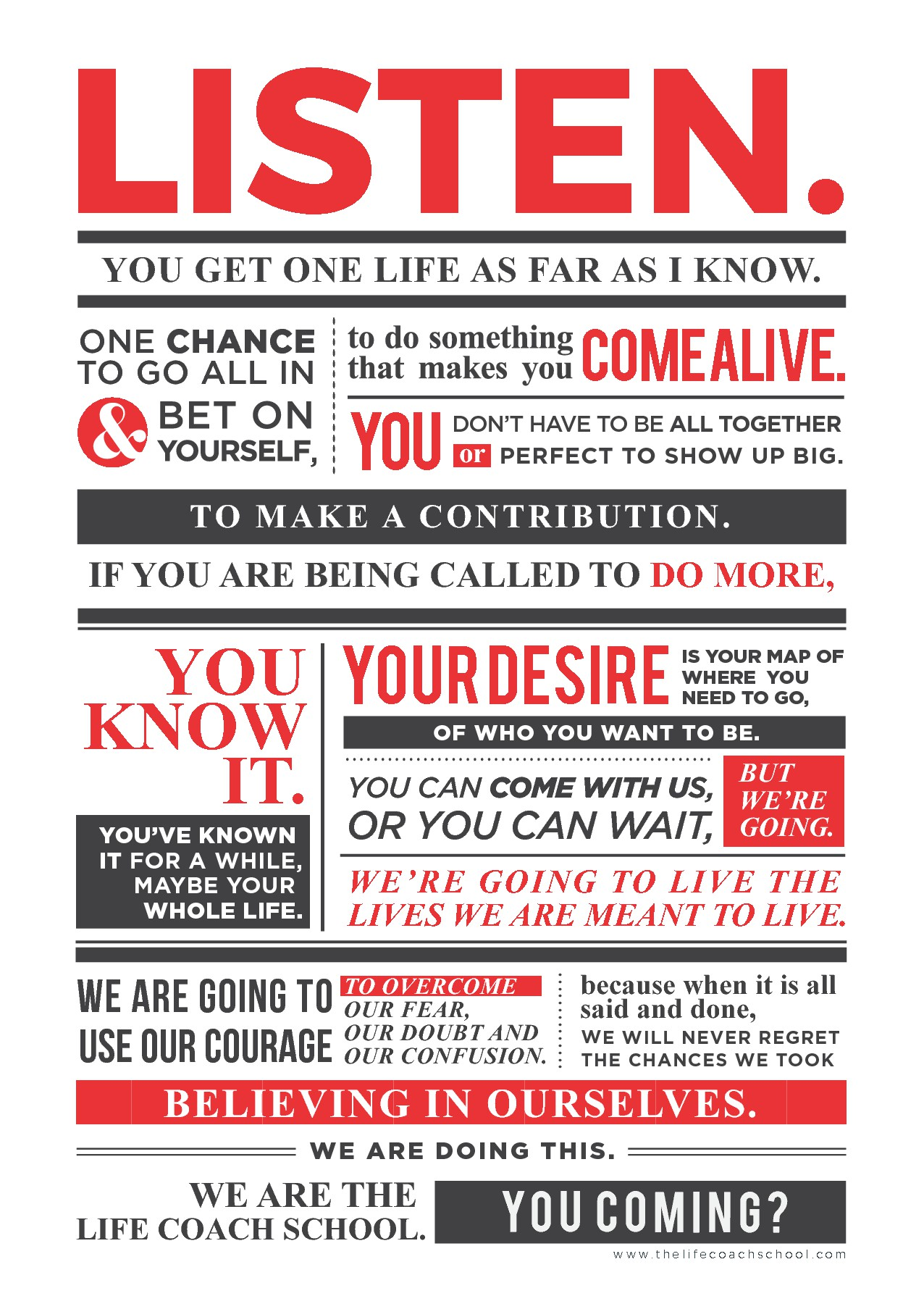 Design a beautiful text manifesto for Life Coaching company