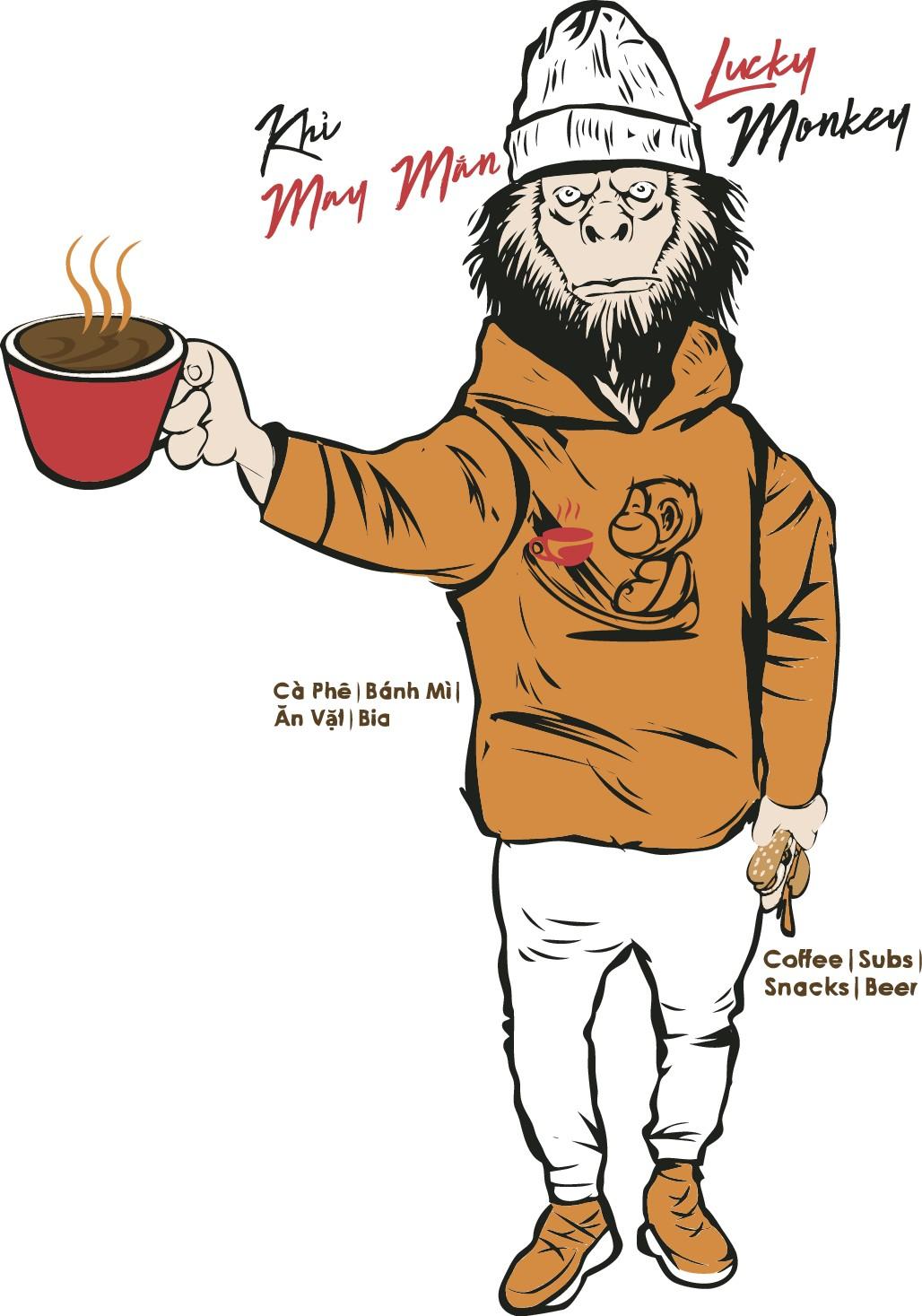 Create T-Shirt Design For Vietnamese Coffee Shop Lucky Monkey