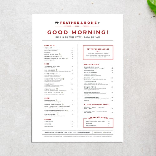 Menu Design for Butcher, Deli, and Produce Shop