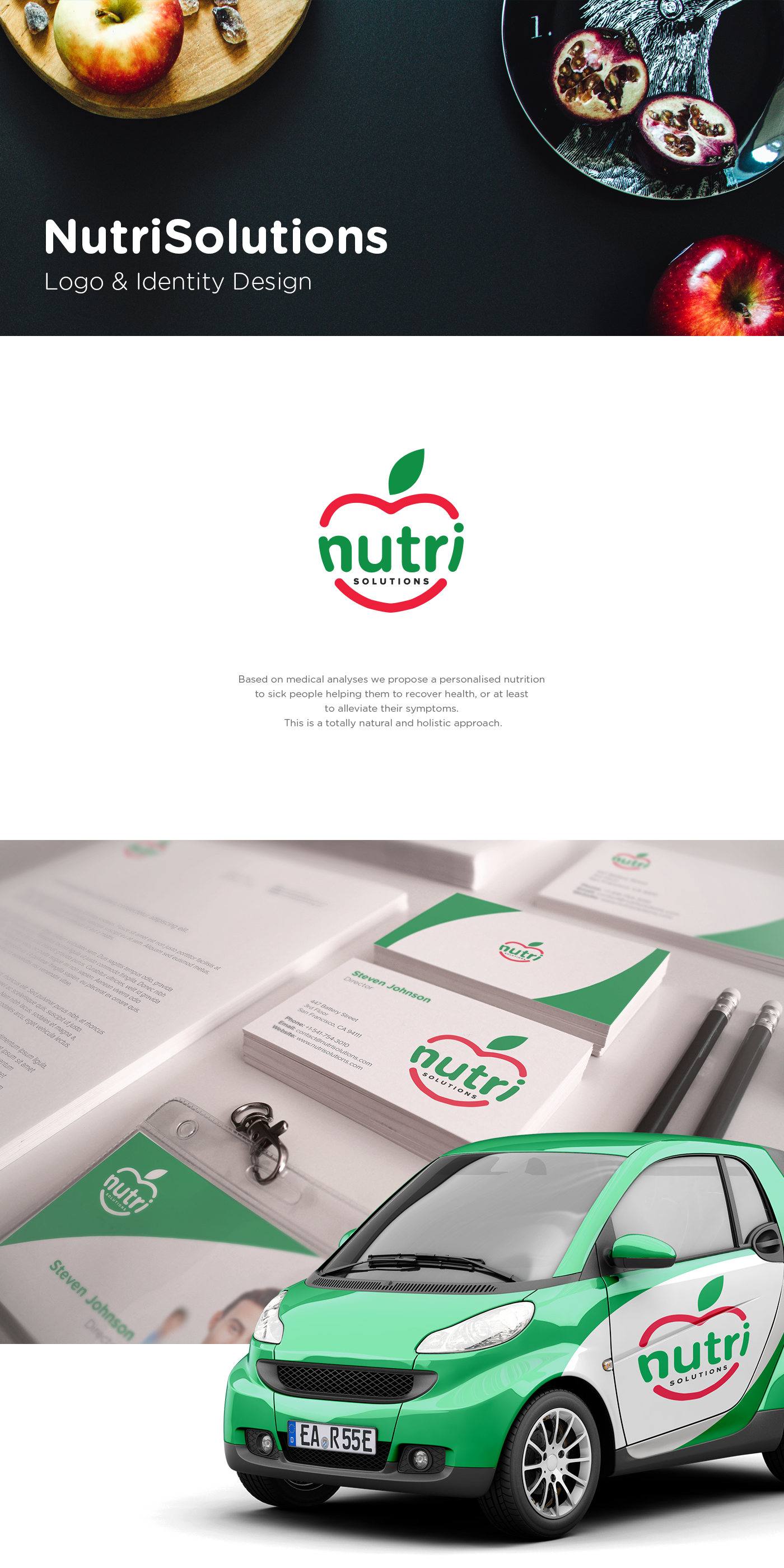Create a logo for an innovative nutritional approach aiming the recovery of health in sick people