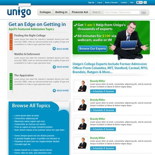 Product Landing Page for Unigo (www.unigo.com)