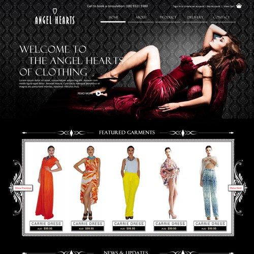 Website design for Angel Hearts Clothing