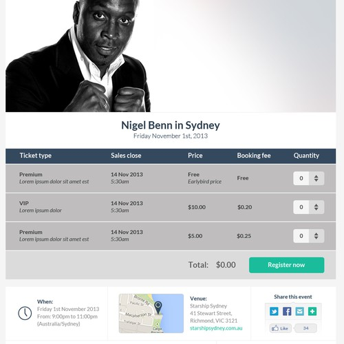 Attendly Event Registration Page Redesign