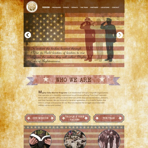Create a vintage american website for veteran services