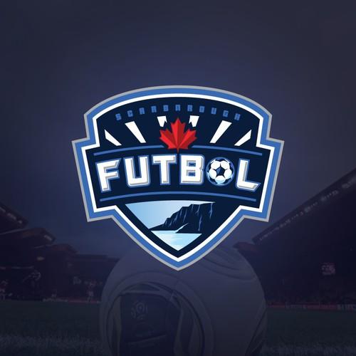 Soccer / Futbol logo incorporating Soccer ball, Bluffs & Water