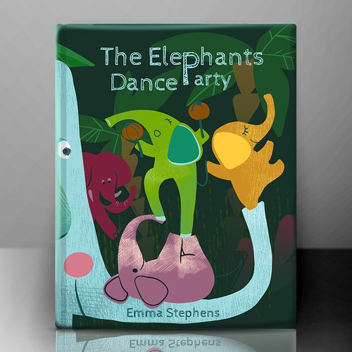 The Elephants Dance Party - Fun, bright and quirky kids book illustration