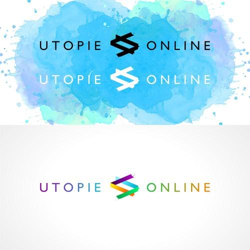 Creative logo concept for web developer utopie online