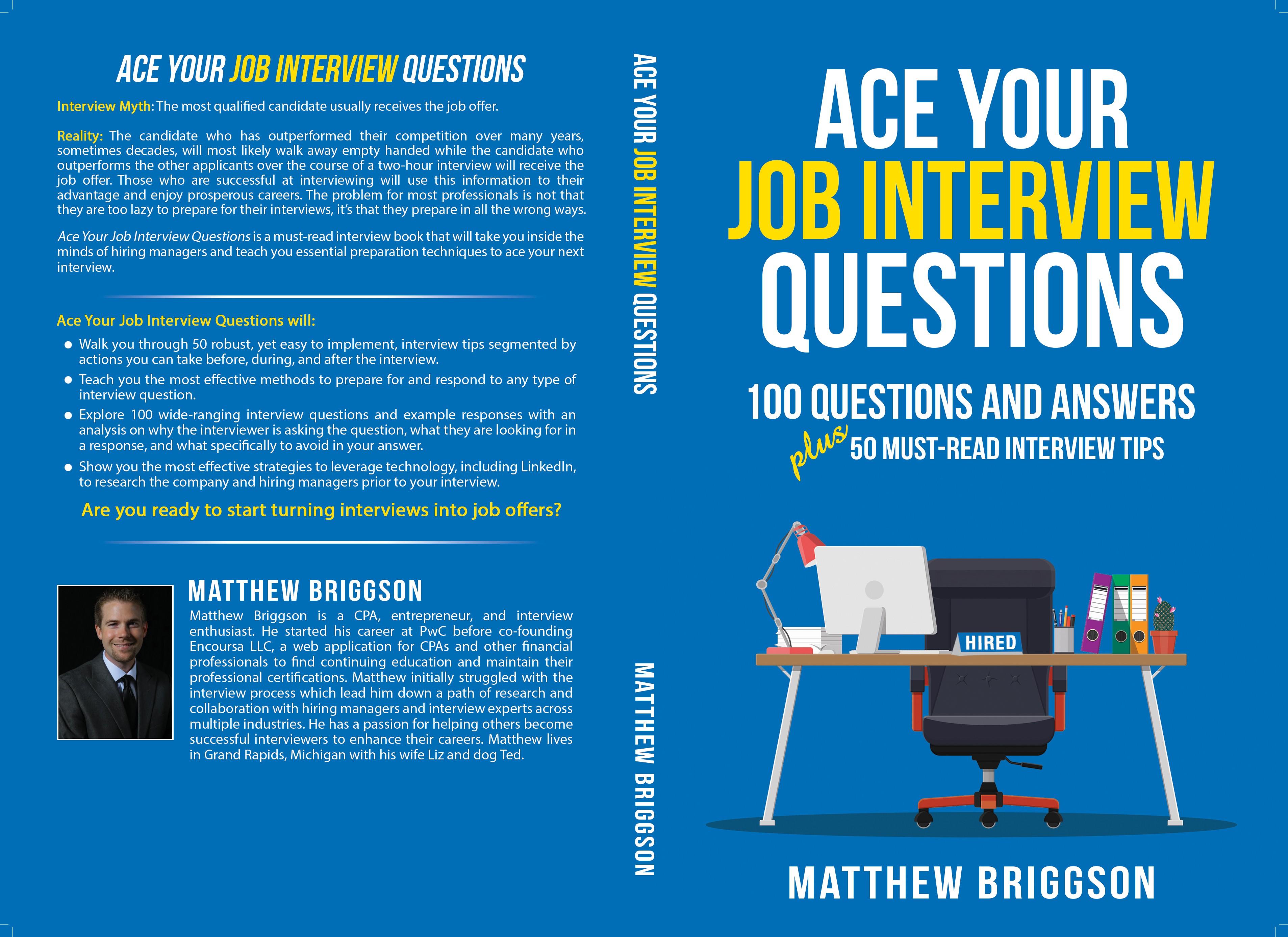 Design a book cover for a job interview book.