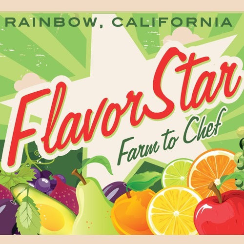 Flavor Star Fruit Box Label/logo for Farmer Laura's start-up produce company
