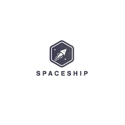 Minimalist spaceship logo for cyberspace company