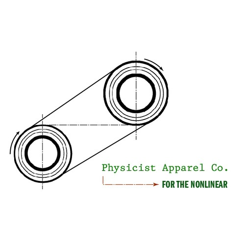 Logo for New Apparel Co, based on the style of early 20th Century Physicists