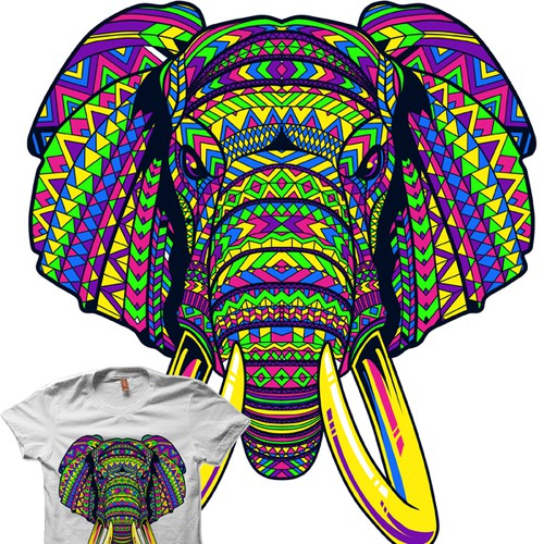 Create a tribal elephant face t-shirt for Serengetee!