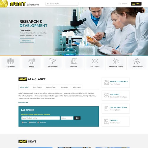 Clean homepage design for AGAT Labs