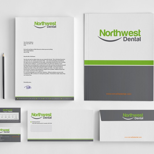 Create the next stationery for Northwest Dental