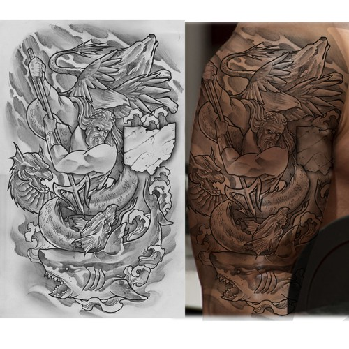 Poseidon tattoo design