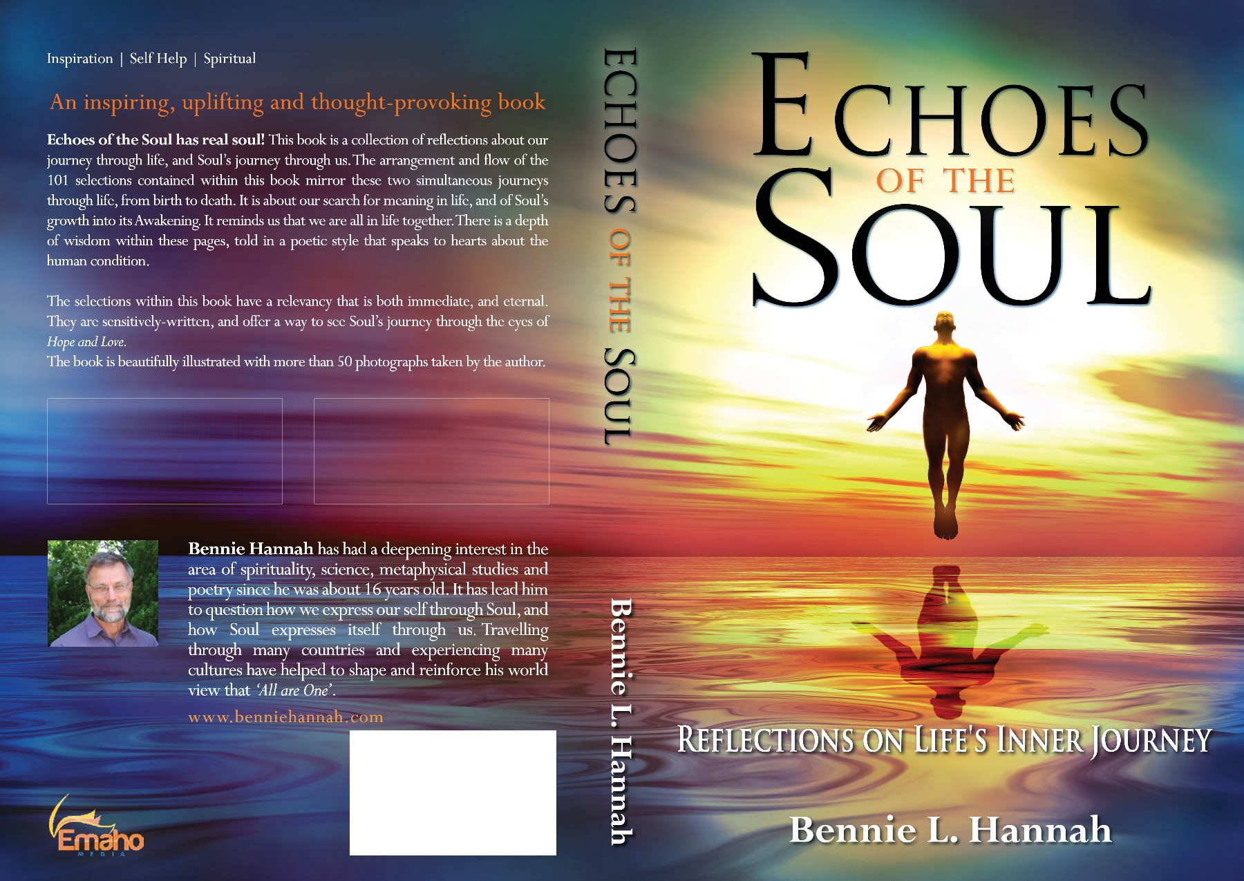 Design a book cover for the book 'Echoes of the Soul'