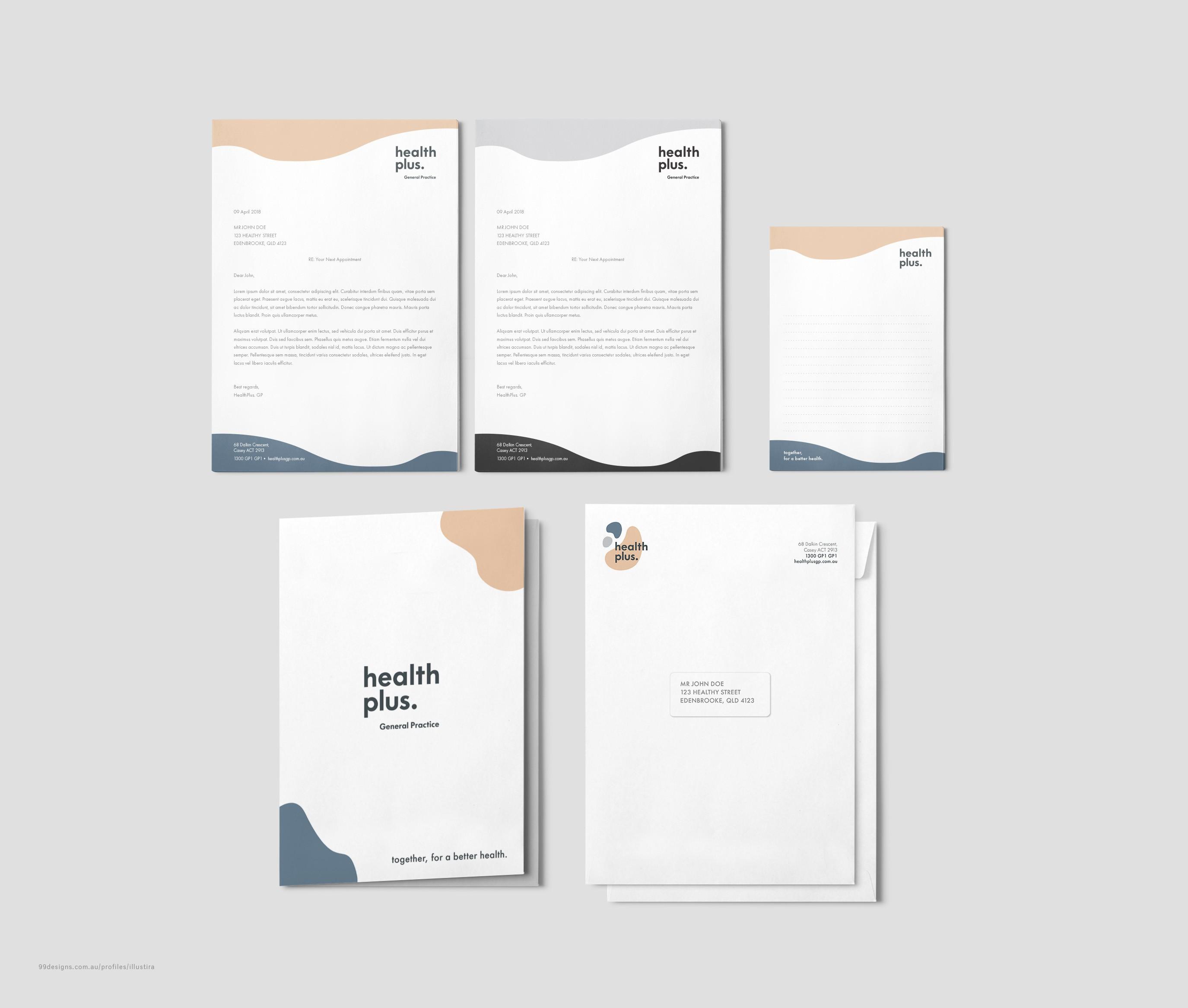 HealthPlus GP – Stationery Designs