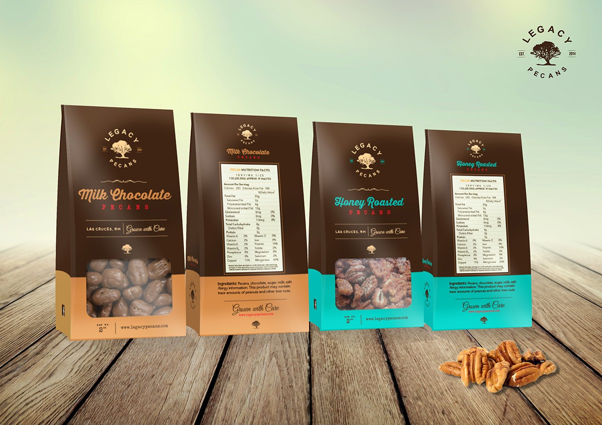 Create an classy and vintage product package design for gourmet Pecan company