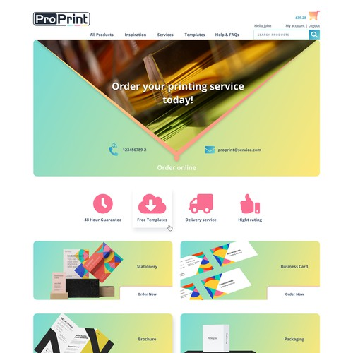 web design concept for print company