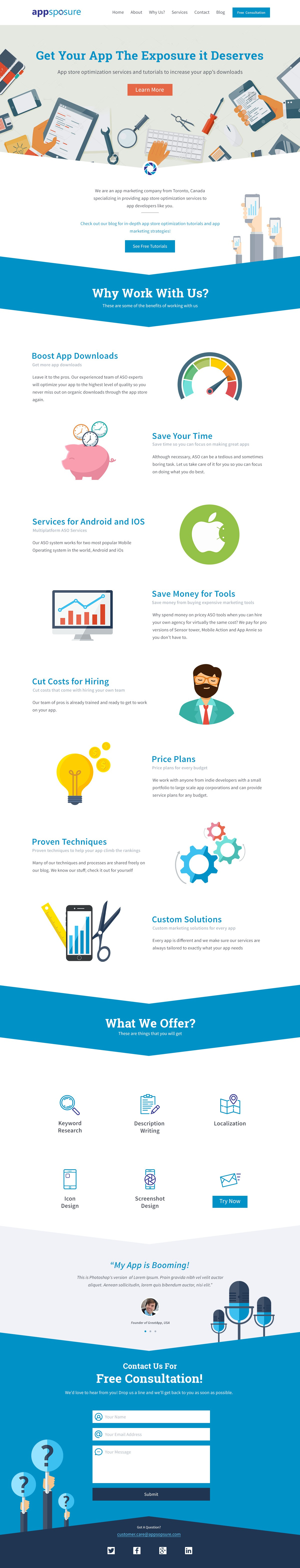 Create a stunning landing page/homepage for a new marketing startup