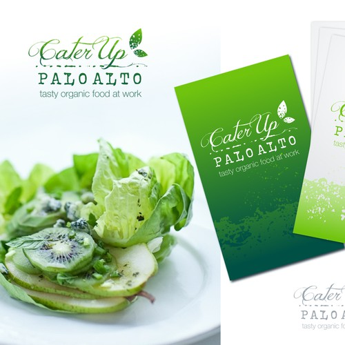 logo and business card for CaterUp Palo Alto