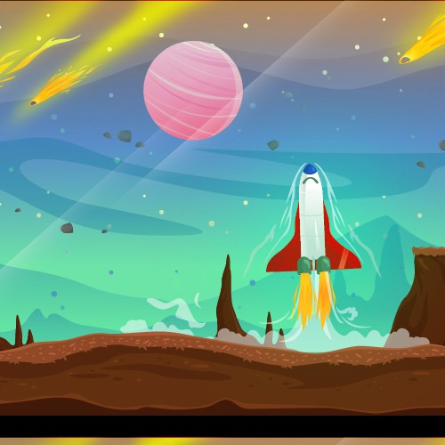 Scrolling Game Illustration - Space Theme
