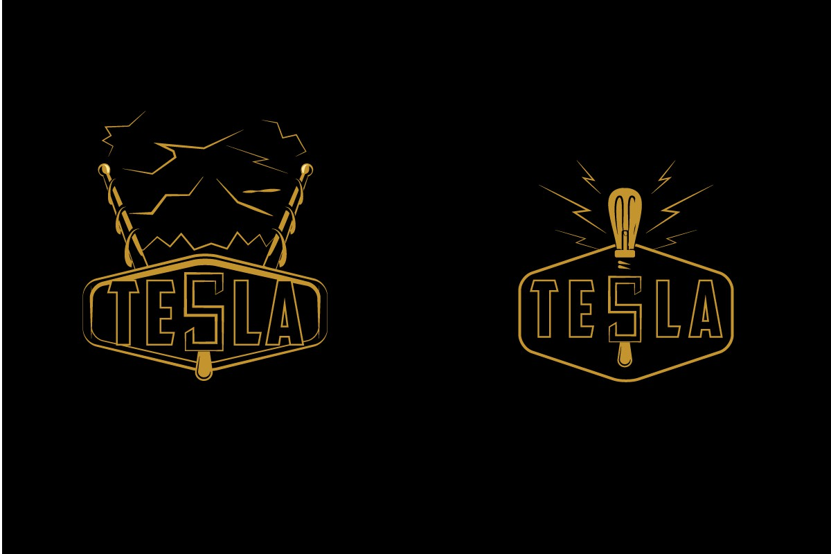 Create a vintage logo (but with a modern touch) for a casual bar/lounge called Tesla