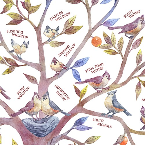 Family tree watercolor illustration