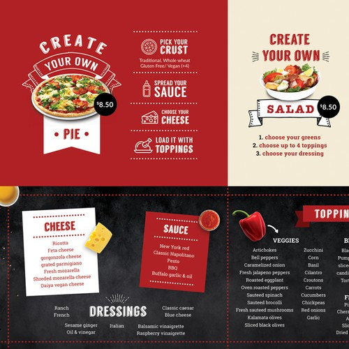 Fun pizzeria menu design