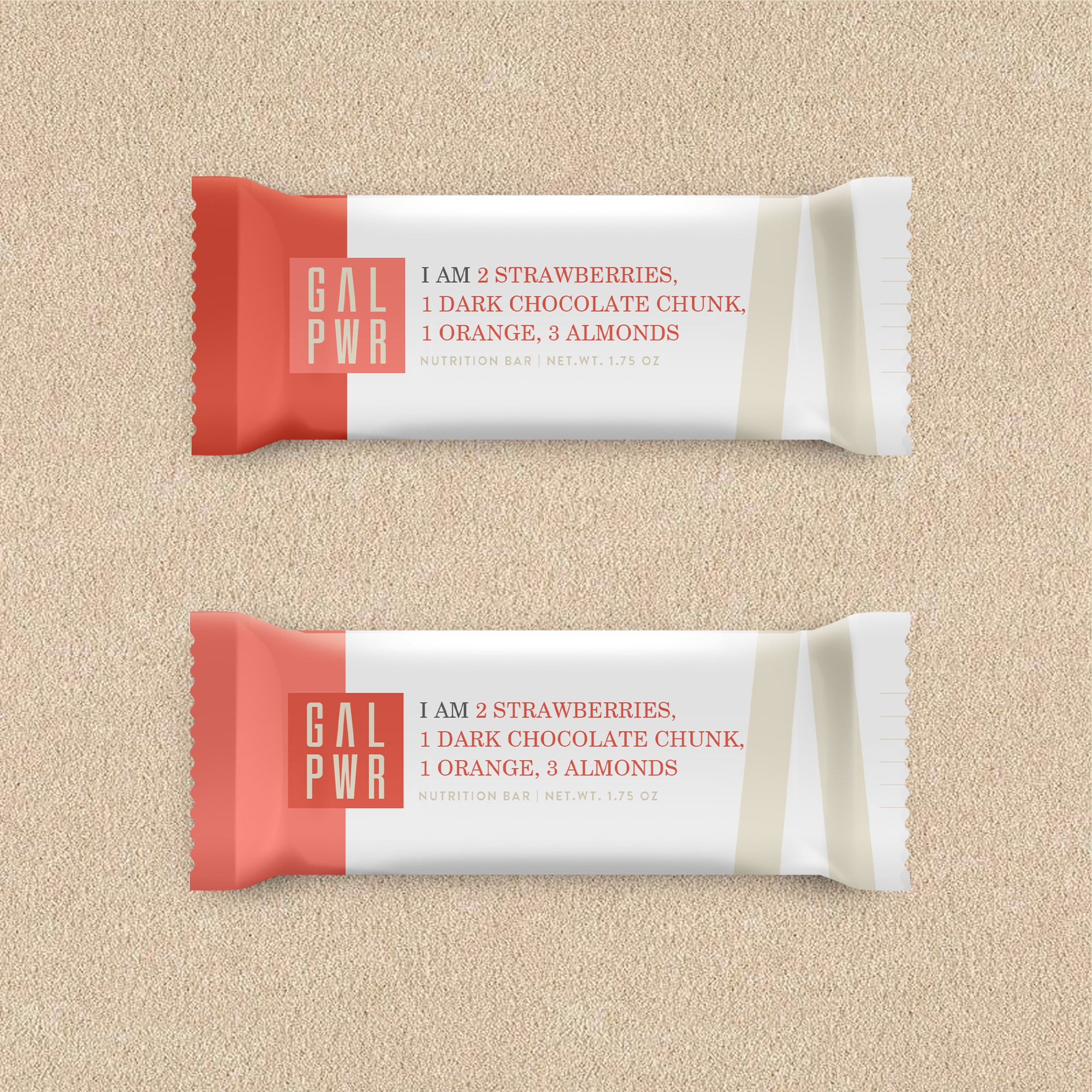 Food Bar for Millennial Women (packaging for bar wrapper + shipping box/bag)