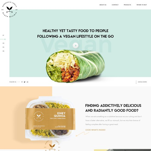 Design a striking and bold site for a food startup