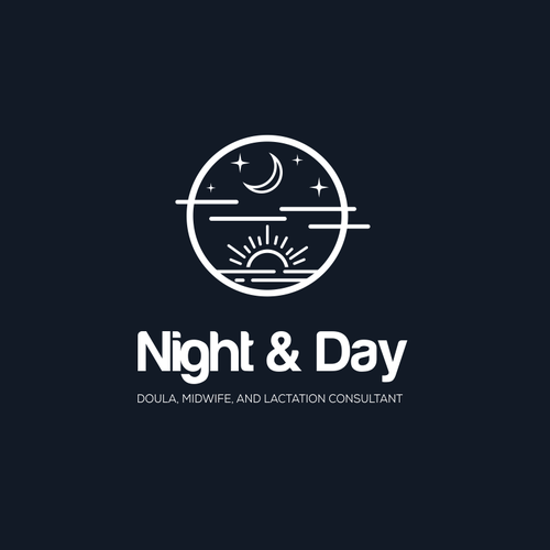 line art logo cocept for day and night