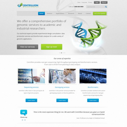 website design for Centrillion Biosciences, Inc.