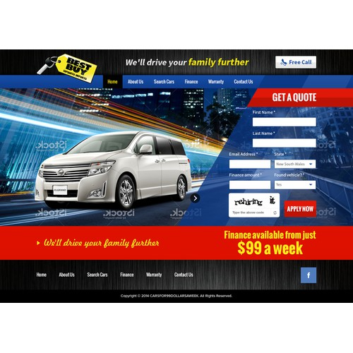Bold landing page design for Cars