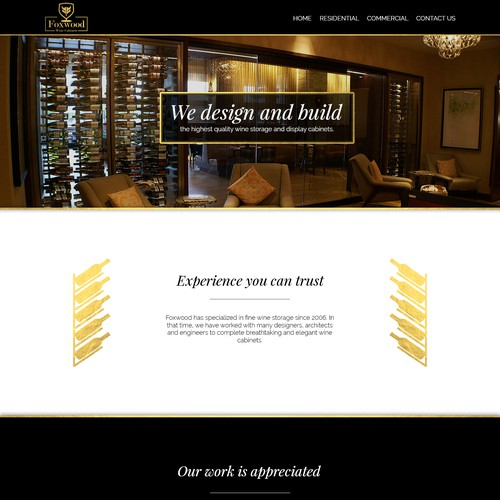 Website proposal for Foxwood Wine Cabinets