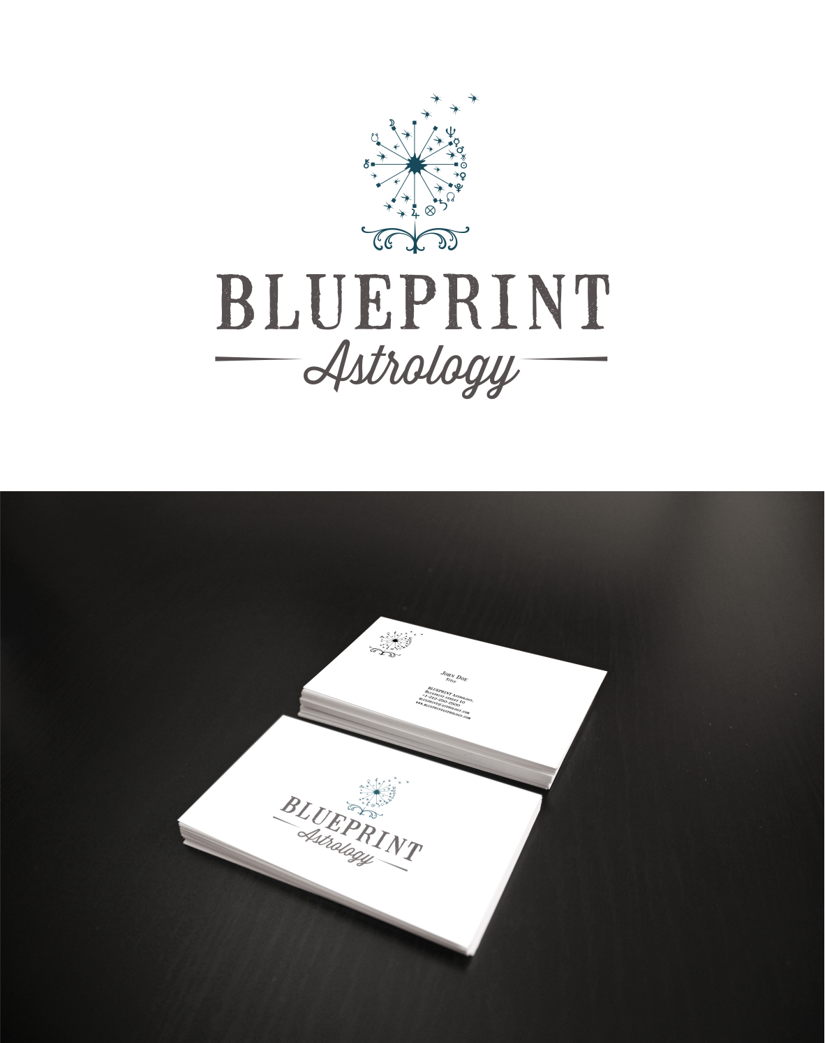 Modern Vintage Logo for Blueprint Astrology