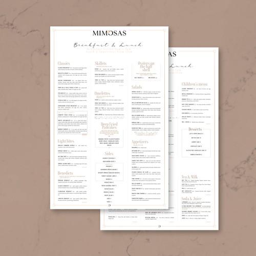 Clean menu design