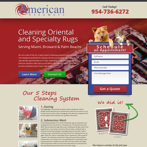 Create simple and creative landing page for Rug Cleaning Company