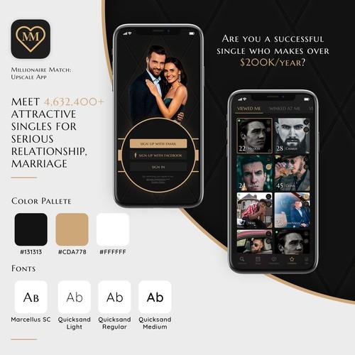 Upscale dating app design
