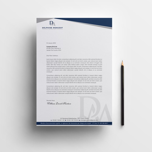 Letterhead design for Delphine Mengeot