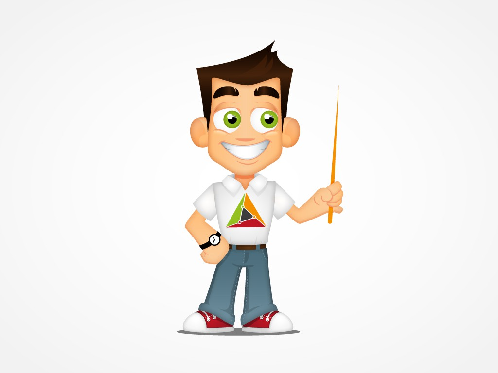 MathsTutor character incorporating our geometric logo - give maths a human face!
