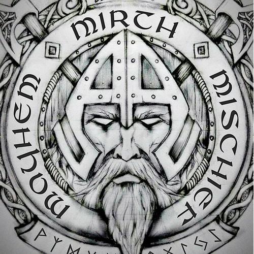 Norse Viking Warlord Tattoo Design