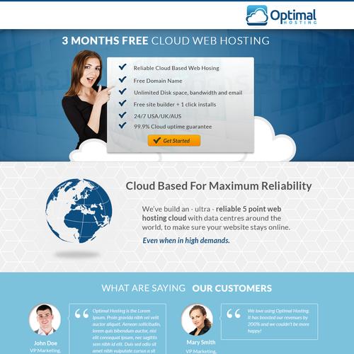 Optimal Hosting Offer Landing page