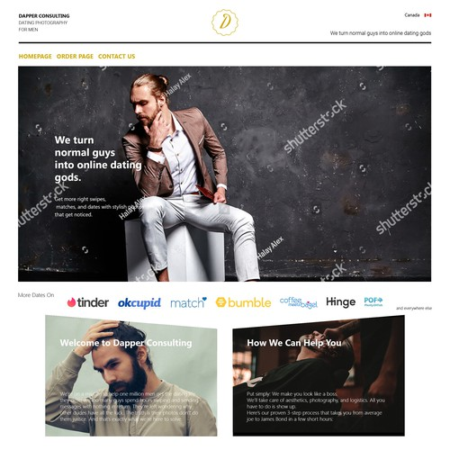 Professional dating photography company for men needs a fun & sophisticated website!