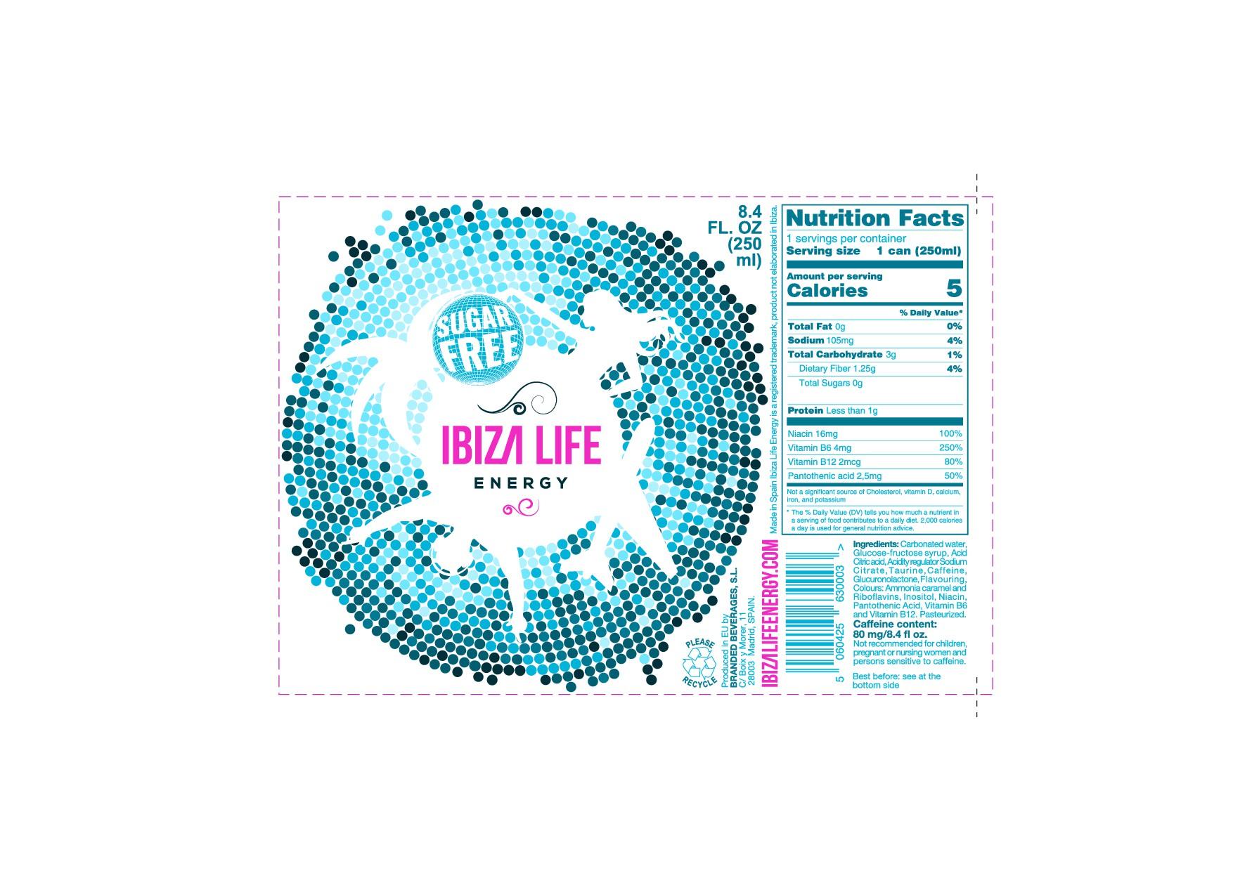 Can design IBIZA LIFE Energydrink Sugarfree