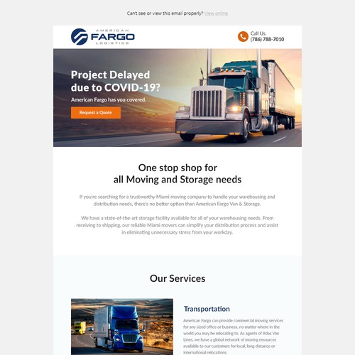 Email Template for Transport Company
