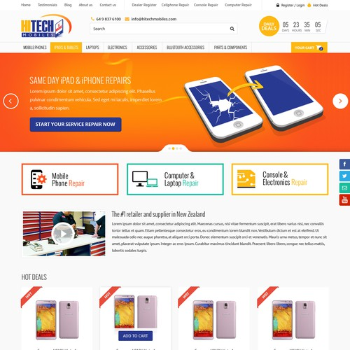 Modern Responsive Design for Hitech Mobiles Website