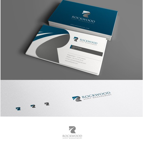 Create a modern logo and business card design for Rockwood Asset Management